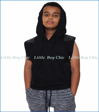 Miilovemu, Moroccan Knit Hooded Vest  in Black