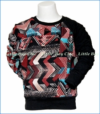 Mini Classy, Tribal Crew w/ Black Sleeve in Multicolored