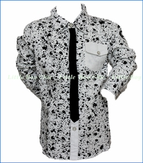 Mini Shatsu, Black Tie Paint Splatter Shirt in Multicolored
