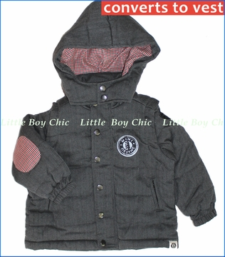 Mini Shatsu, Herringbone Hooded Puff Vest/Jacket (c)