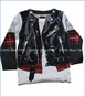 Mini Shatsu, Plaid Leather Biker Vest 2fer T-Shirt in White