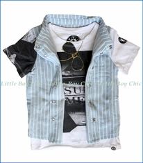Mini Shatsu, Real Summer Stripe Vest in Blue