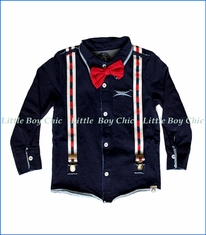 Mini Shatsu, Red Bowtie & Suspender Button Down Shirt in Blue