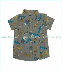 Mini Shatsu, S/S Havana Summer Bowtie Shirt in Grey