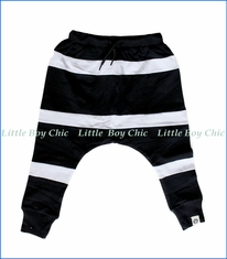 Mini Shatsu, Striped Harem Sweat Pants in Black & White