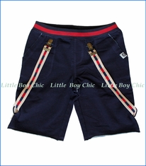 Mini Shatsu, Suspender Cutoff Shorts in Navy