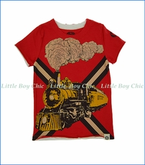 Mini Shatsu, Vintage Train T-Shirt in Red