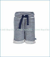 Miny Mo, Kirk Stripe French Terry Shorts in Blue