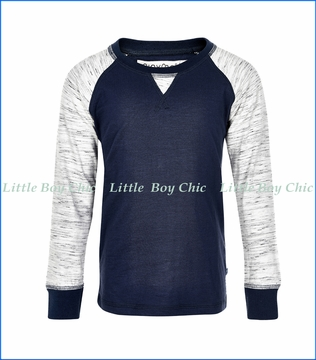 Miny Mo, Patched Elbow Raglan Sweatshirt in Blue