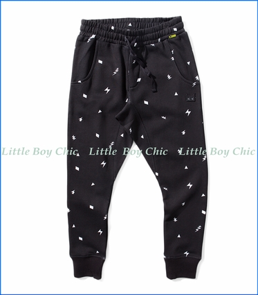 Munster, Buzz Bolt-Fetti Trackpants in Black