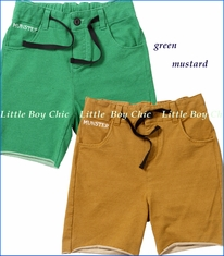 Munster, Cut Off French Terry Track Shorts in Mustard or Green (c)