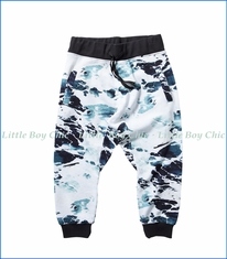 Munster, Foamy Drop Crotch Track Pants in Ocean
