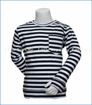 Munster, LS Striped Fighter T-Shirt in Black