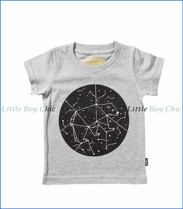 Munster, Moon Print T-Shirt in Grey Marle