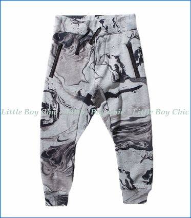 Munster, Supremo  Zip Pocket Trackpants in Grey Marble Print