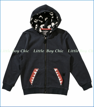 Munster, Teethy 2 Zip Hoodie in Soft Black (c)