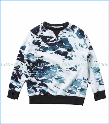 Munster, White Water Crew Sweatshirt in Ocean