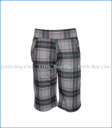 Nano, Knit Plaid Shorts in Grey