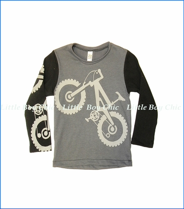 Nano, L/S Bike Graphic T-Shirt in Dark Grey