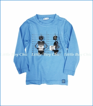 Nano, L/S Robot Graphic T-Shirt in Blue
