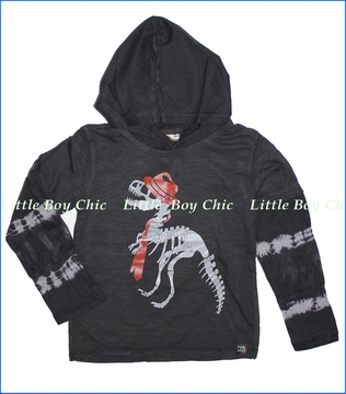 Nano, Skeleton Dino Hooded 2fer Tee in Steel