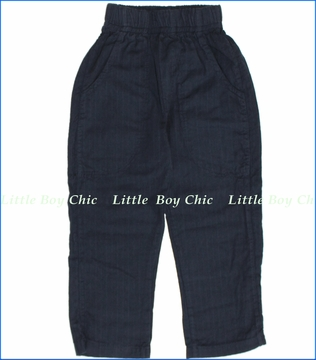Nano, Ticking Stripe Pants in Charcoal (c)