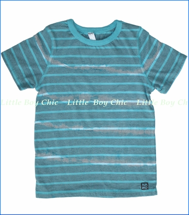 Nano, Tie Dyed Stripe Tee in Turquoise