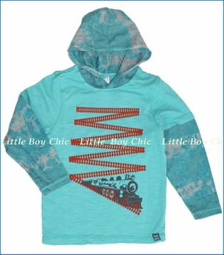 Nano, Train Hooded 2fer Tee in Bay (c)
