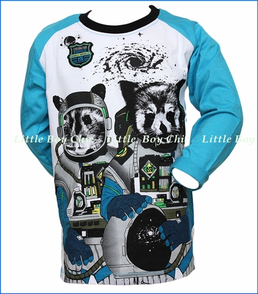 Noruk, Racoon Graphic T-Shirt in Blue