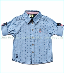 Noruk, S/S Sea Print Shirt in Blue