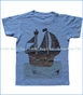 Orange Heat, Pirate Ship T-Shirt in Blue