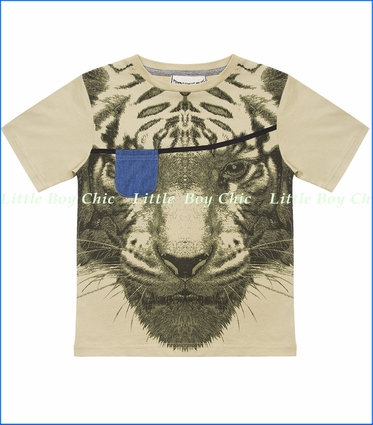 Paper Wiings, Tiger Organic Tee in Pale Khaki