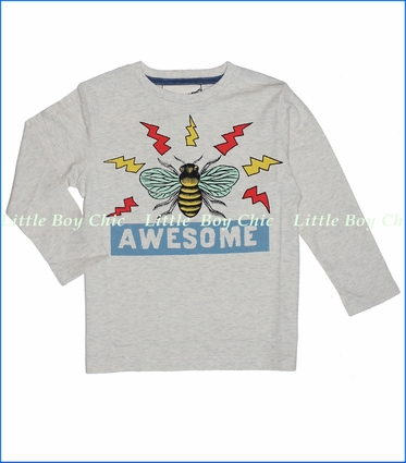 Paper Wings, Bee Awesome Organic Tee in Light Grey Marle