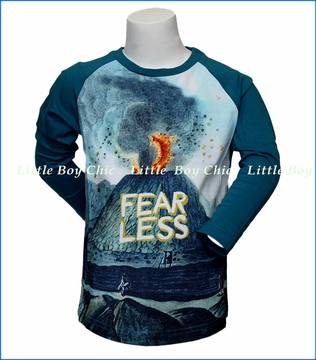 Paper Wings, L/S Fear Less Organic Raglan T-Shirt in Blue