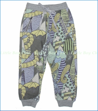 Paper Wings, Mountain Dragon Relaxed Organic Track Pants in Grey Marle