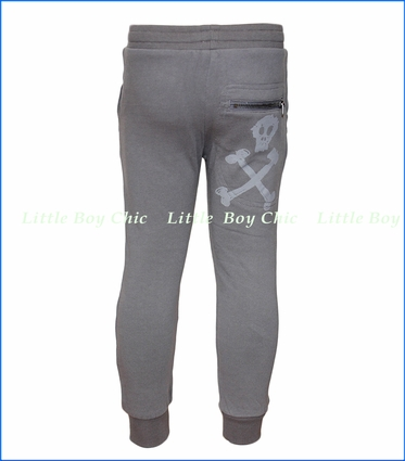 Paper Wings, Skull Organic Track Pants in Grey