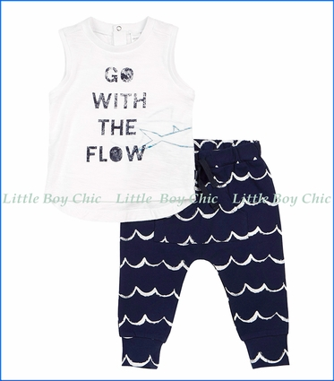 Petit Lem, 2Pc Flow Logo Tank Top & Wave Print Jogger Pants