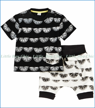 Petit Lem, 2Pc Lemon Print Tee & Short Set in Black