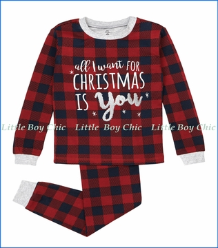 Petit Lem, All I Want For Christmas PJ Set in Red