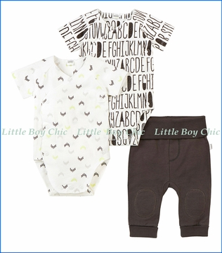 Petit Lem, Alphabet Print Bodysuits and Pants 3-Piece Layette Set in Black