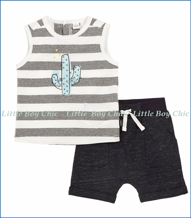 Petit Lem, Cactus 2Pc Stripe Tank Top & Short Set