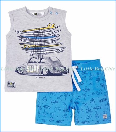 Petit Lem, Car Print 2Pc Tee & Short Set in Grey
