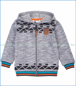Petit Lem, Desert Adventure Knit Hoodie in Grey