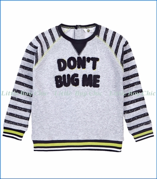 Petit Lem, Don't Bug Me Knit Sweatshirt in Grey