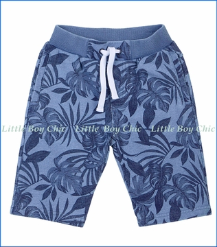 Petit Lem, Floral French Terry Shorts in Blue