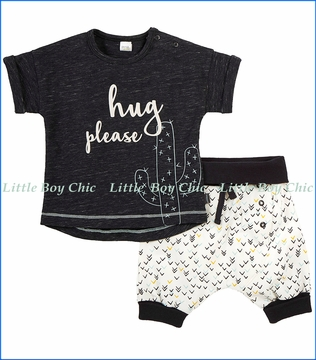 Petit Lem, Hug Please 2Pc Tee & Short Set in Black