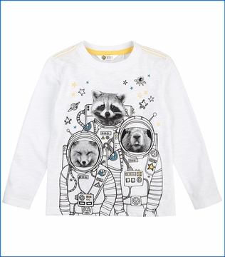 Petit Lem, LS Astro Animal Crew T-Shirt in White