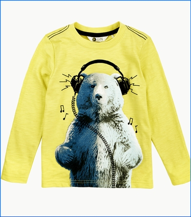 Petit Lem, LS Bear T-Shirt in Yellow