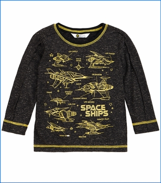Petit Lem, LS Spaceship T-Shirt in Grey