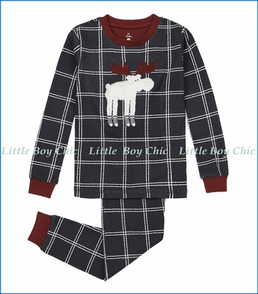Petit Lem, Plaid Moose Appliqué Pajama Set in Grey